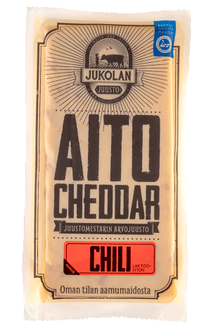 Aito Cheddar Chili pakkaus edestä suora