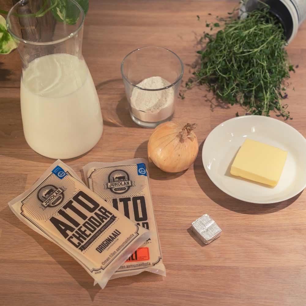 Cheddar juustokeitto resepti tarvikkeet