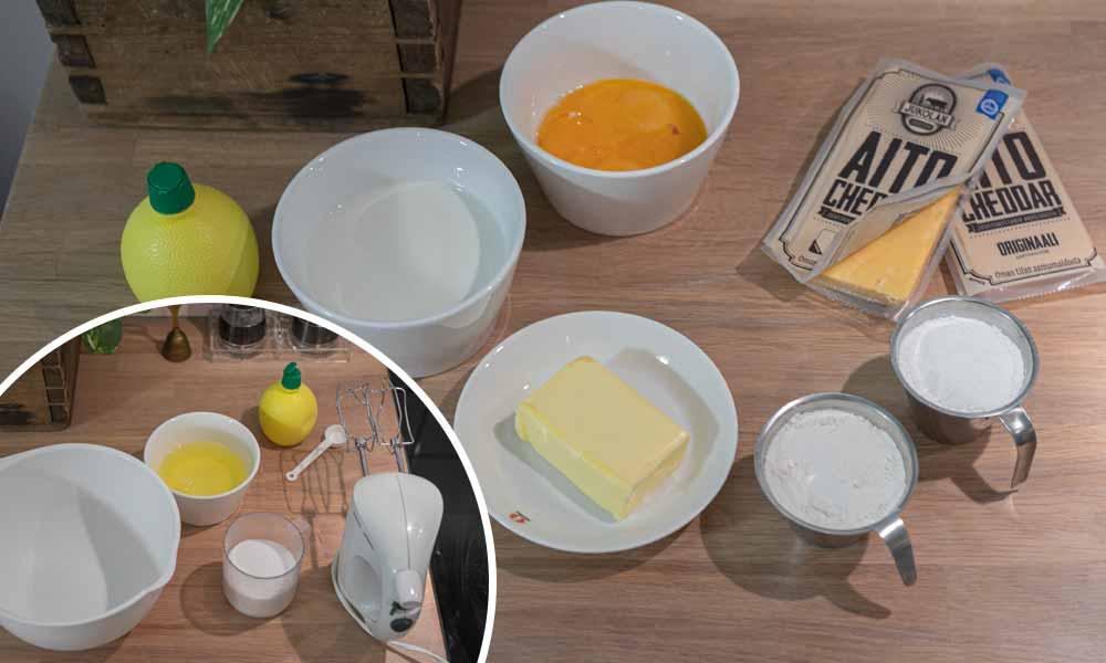 Cheddar juustokakku tarvikkeet