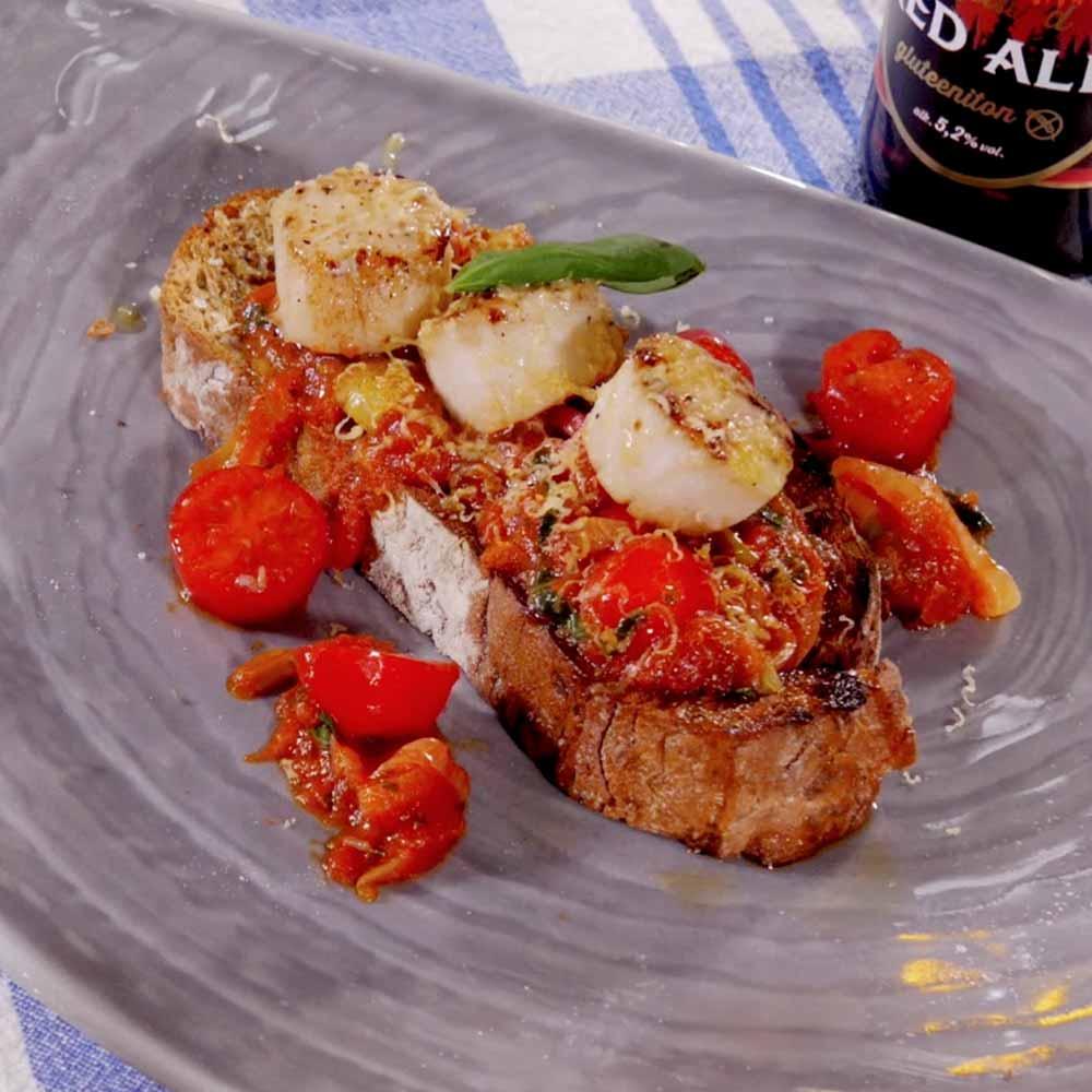 paistettu kampasimpukka bruscetta resepti annoskuva