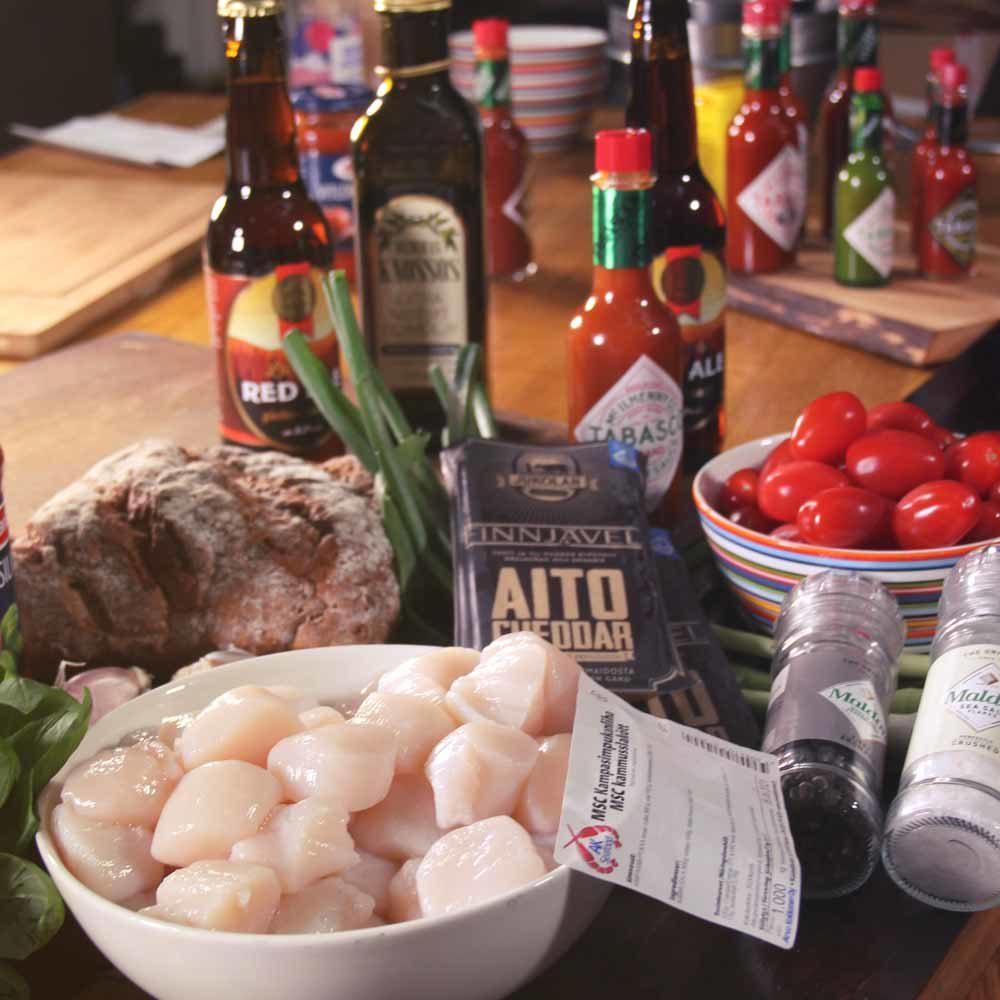 paistettu kampasimpukka bruscetta resepti tarvikkeet